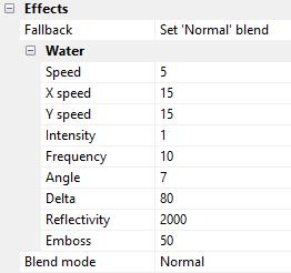 Configuração efeito de água no construct