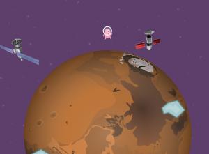 Cenário game gravidade em planeta